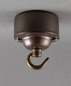 Conduit Box Ceiling Rose Aged Brass with Hook