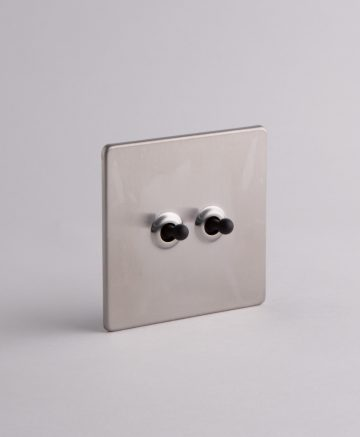 toggle light switch 2 toggle silver & black