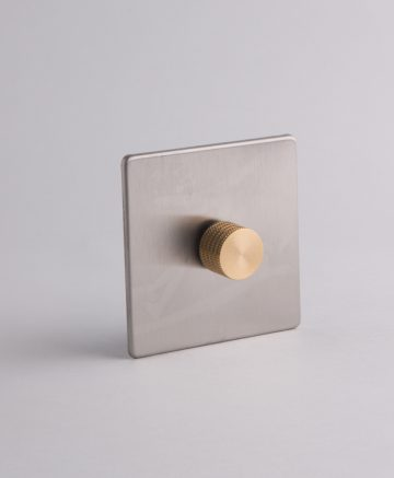 designer dimmer switch single silver & gold