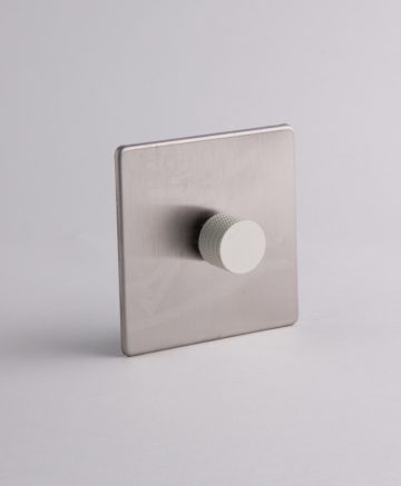 designer dimmer switch single silver & white