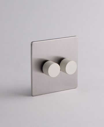 designer dimmer switch double silver & white standard