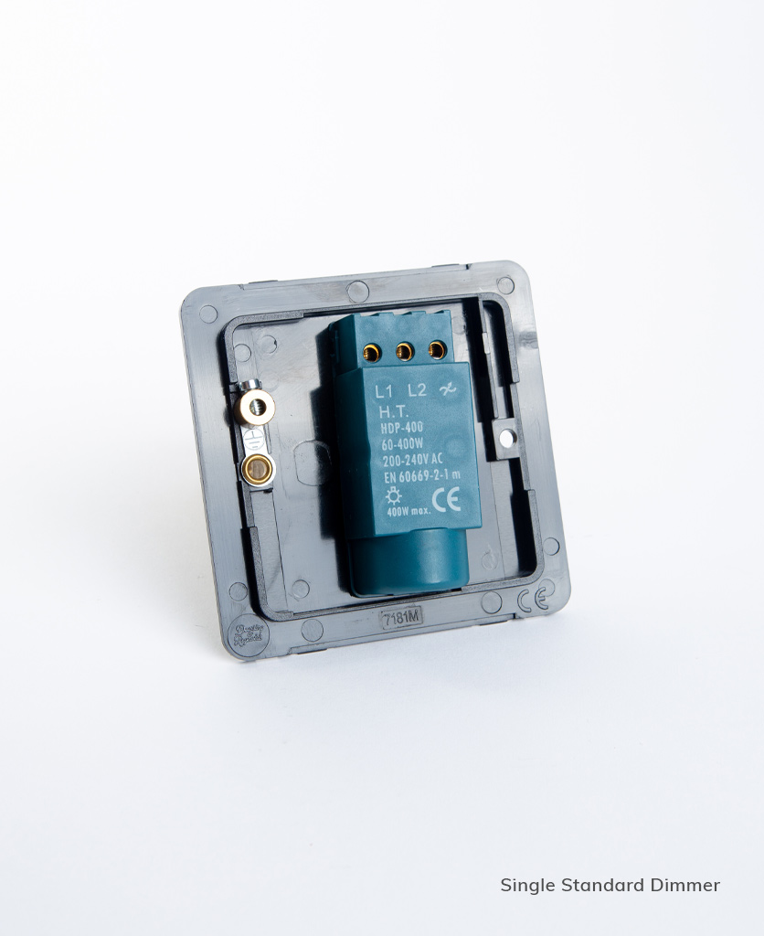 standard single dimmer backplate on white background
