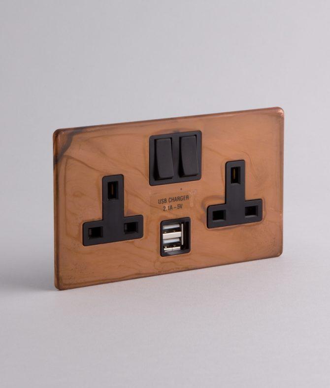 double plug socket usb