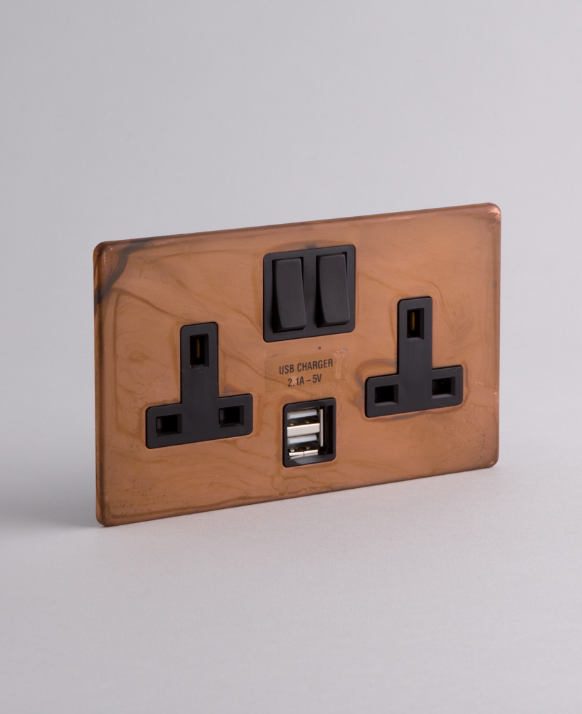 Copper Double Plug Socket Usb With Black Or White Inserts
