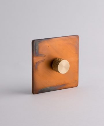 designer dimmer switch single copper & gold