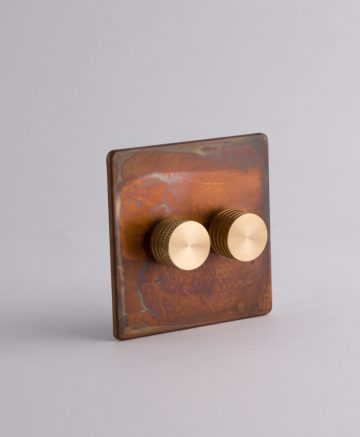 designer dimmer switch double copper & gold