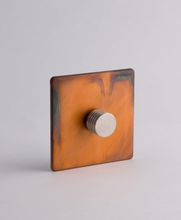 designer dimmer switch single copper & silver