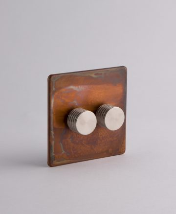 designer dimmer switch double copper & silver