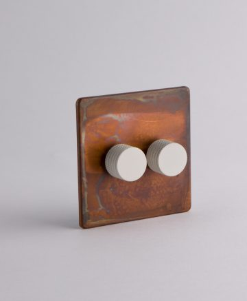 designer dimmer switch double copper & white