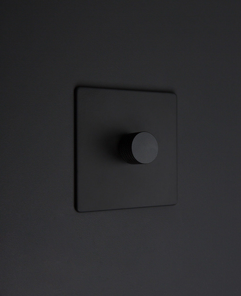 Black one gang dimmer switch with black knobs on black background
