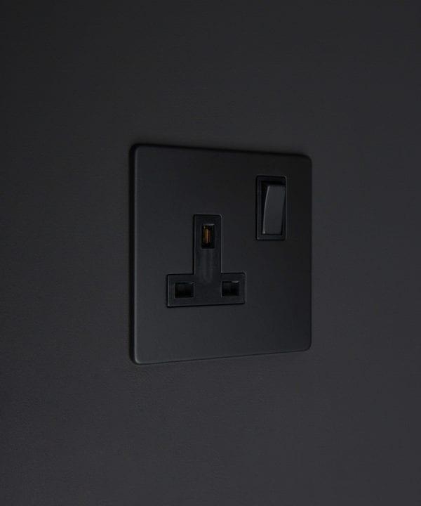 black single 1g plug socket on black background