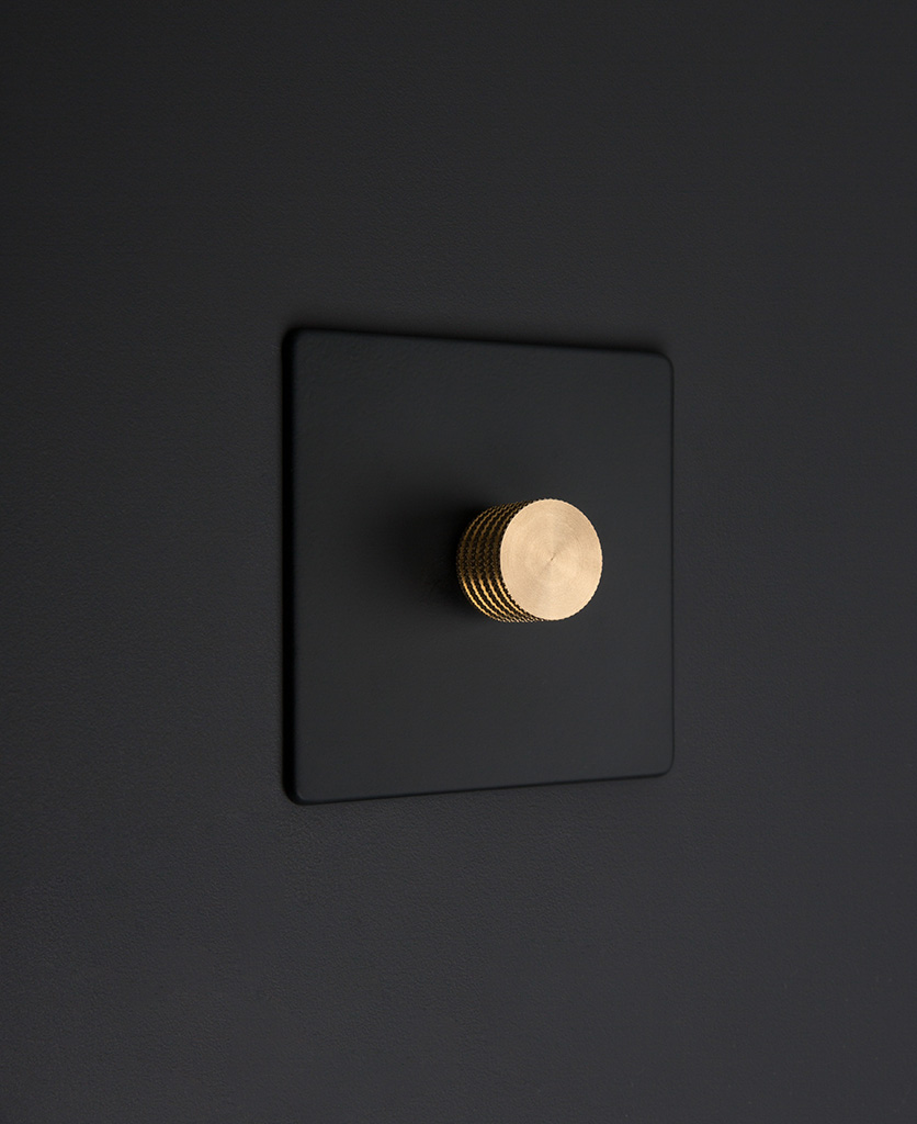 Black one gang dimmer switch with gold knobs on black background