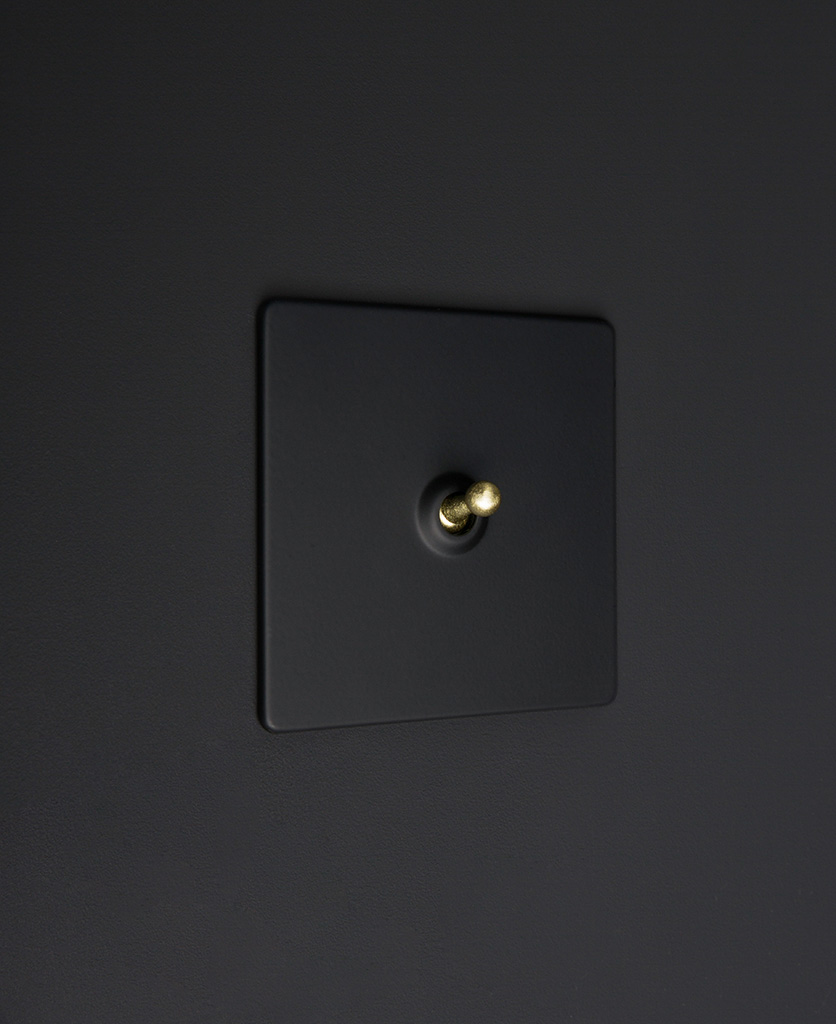 Black one gang toggle switch with gold toggle on black background