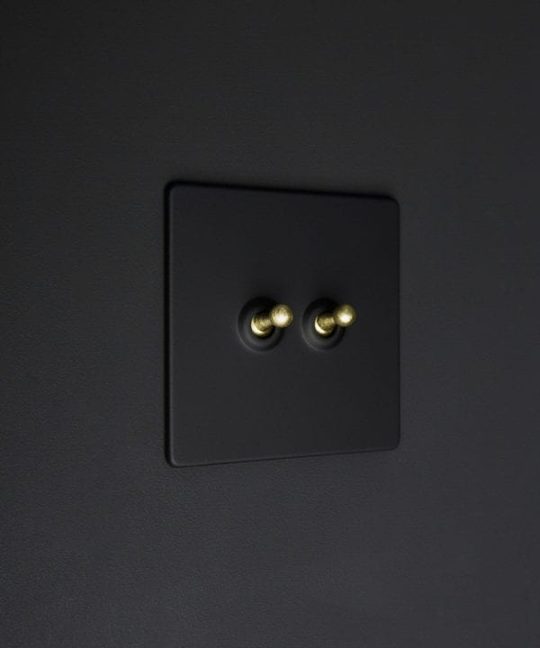 Black two gang toggle switch with gold toggles on black background