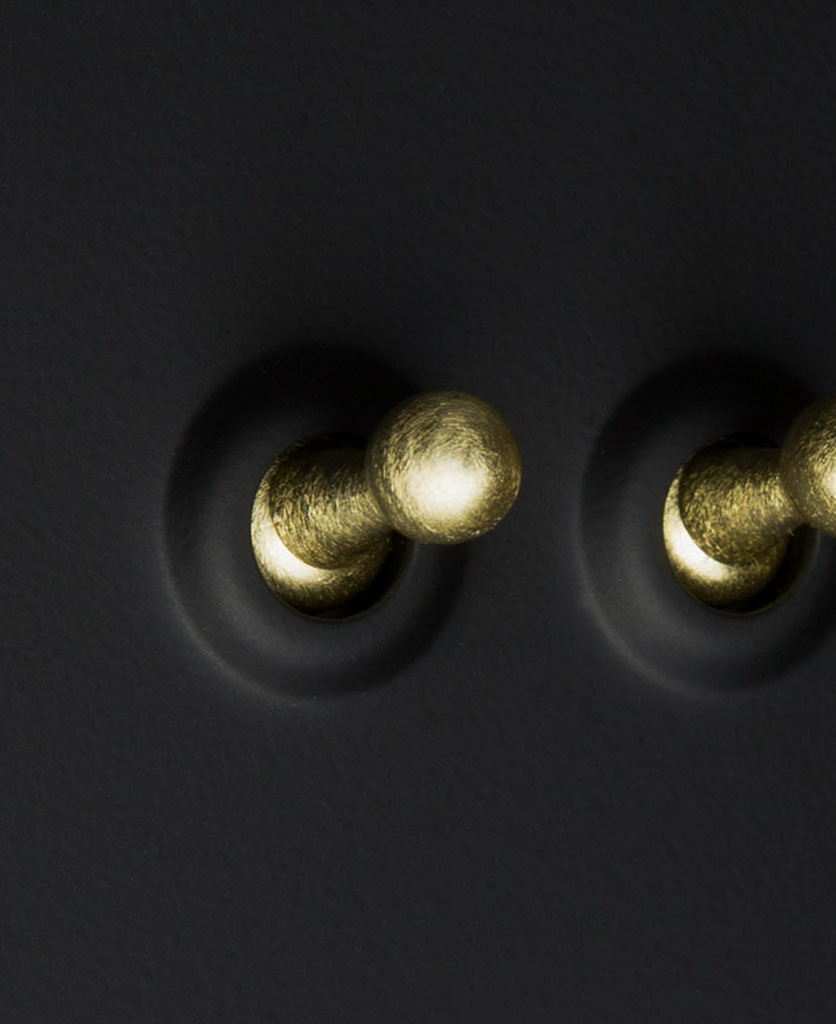 black and gold 2g toggle switch close up