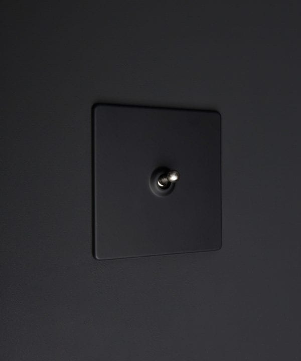 Black one gang toggle switch with silver toggle on black background