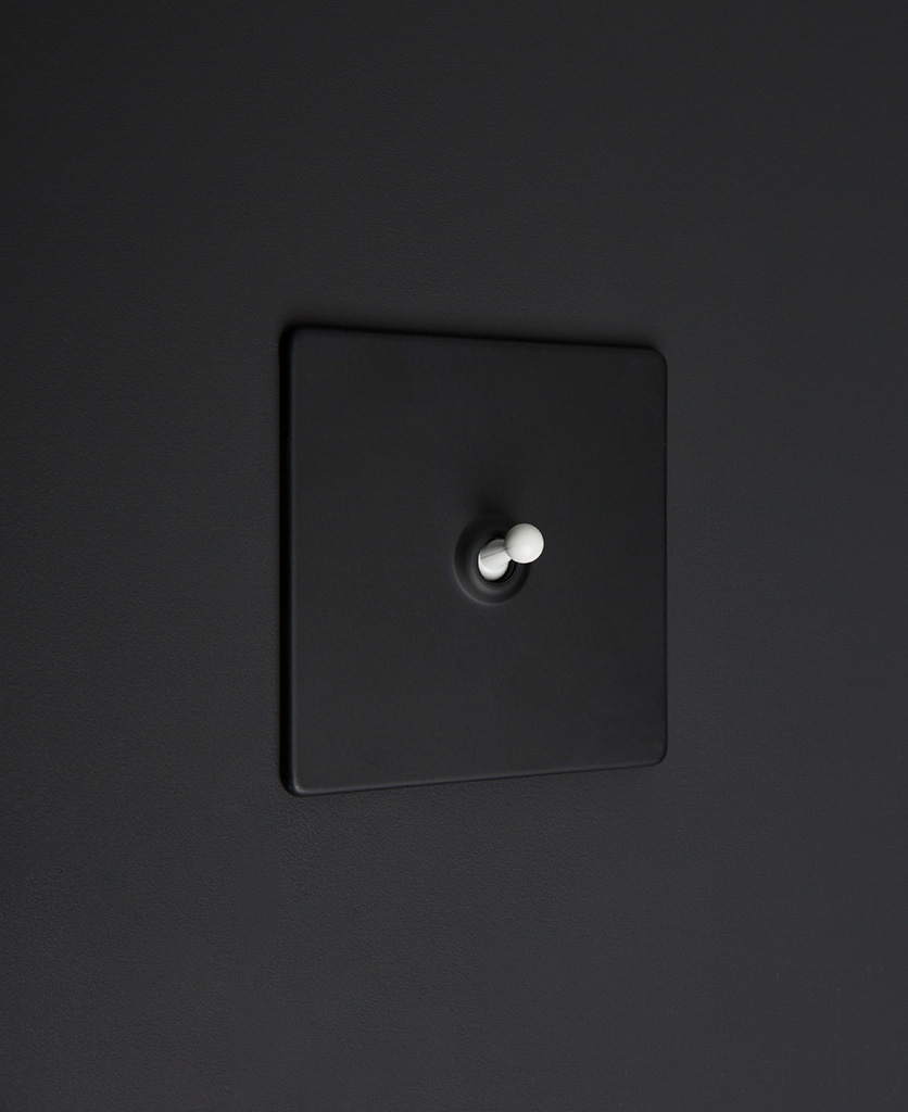 Black one gang toggle switch with white toggle on black background