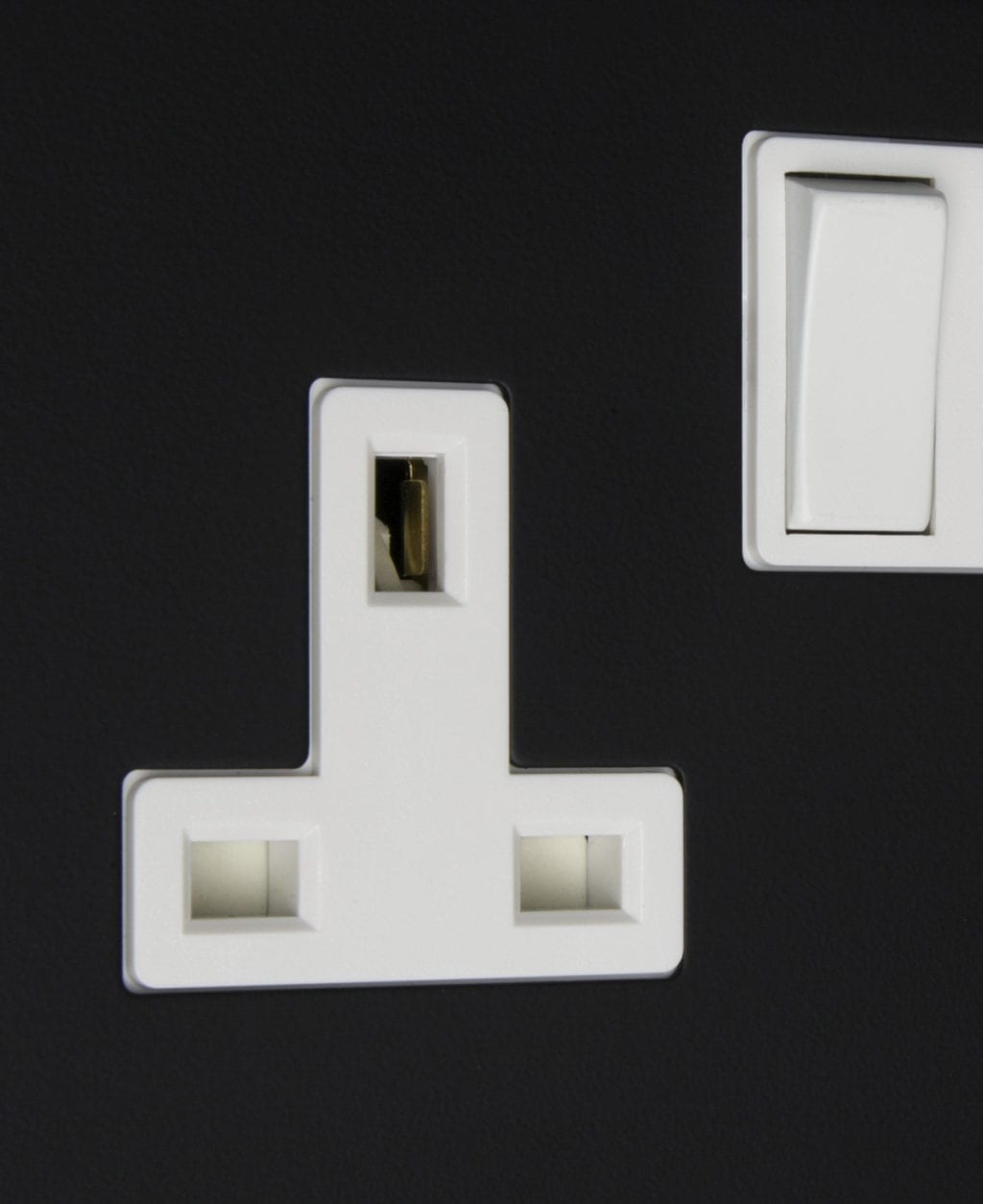 black and white double 2g plug socket close up
