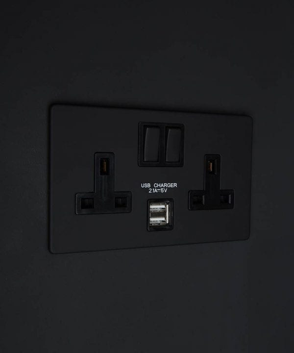 black & black double plug socket USB