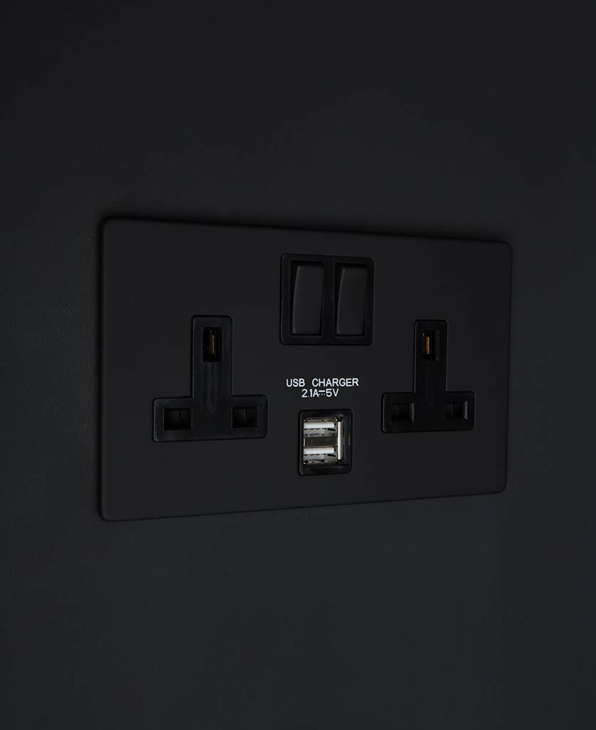Black Double Socket Usb With Black Or White Inserts