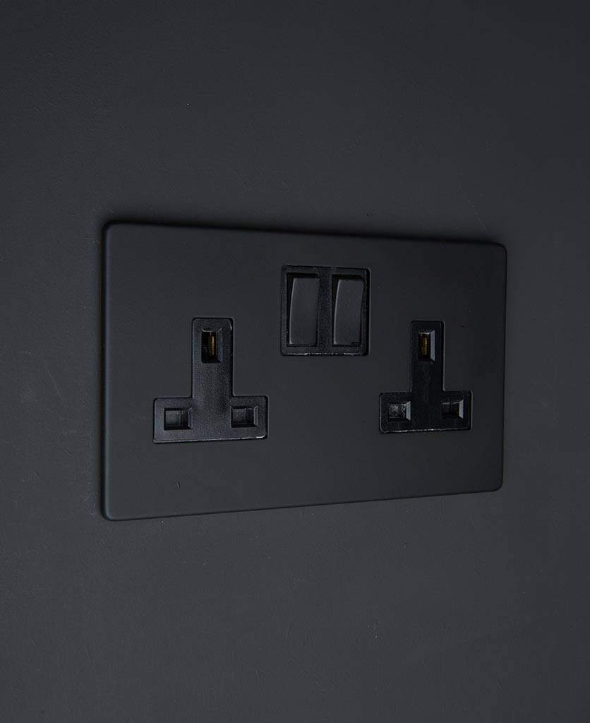 black double socket wall socket with black inserts on a black wall