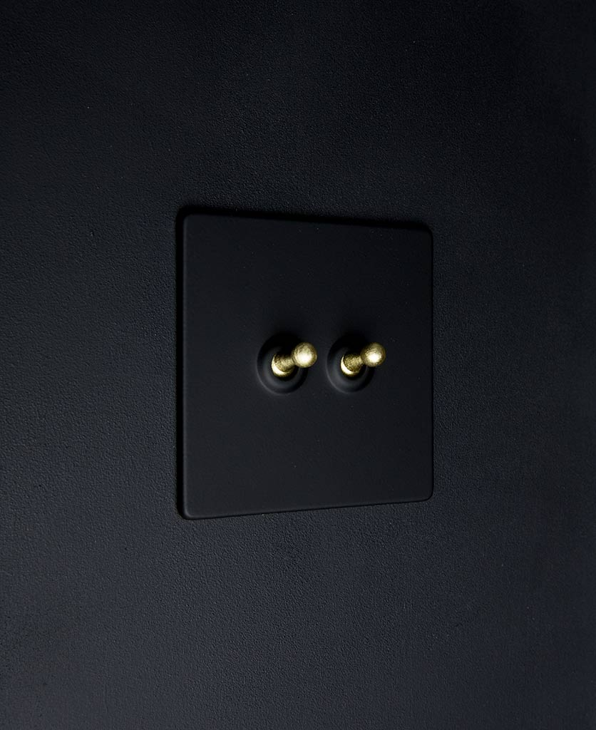 black toggle light switch with gold double toggle detail