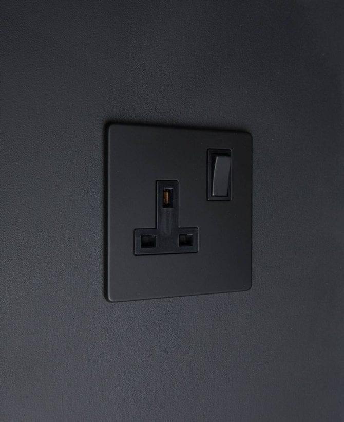 black single plug socket