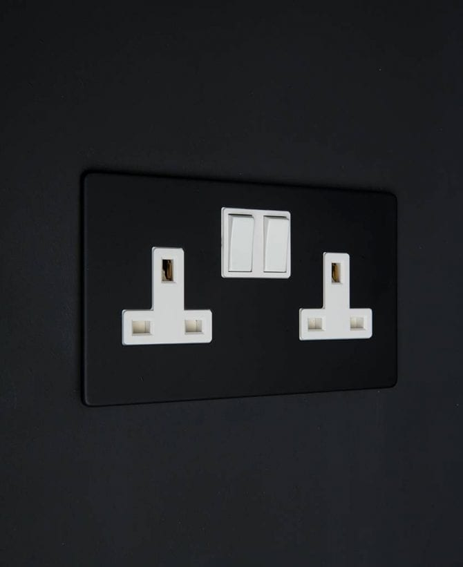 black double wall socket with white inserts