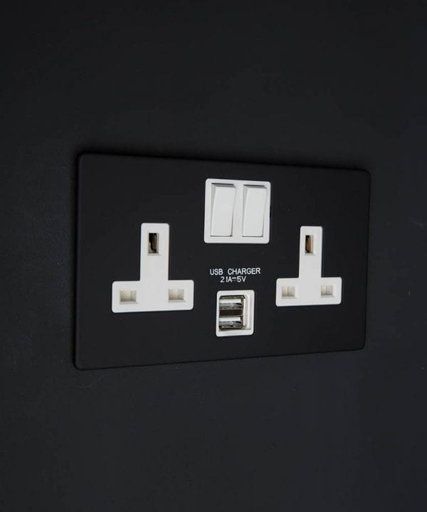 black & white double socket usb