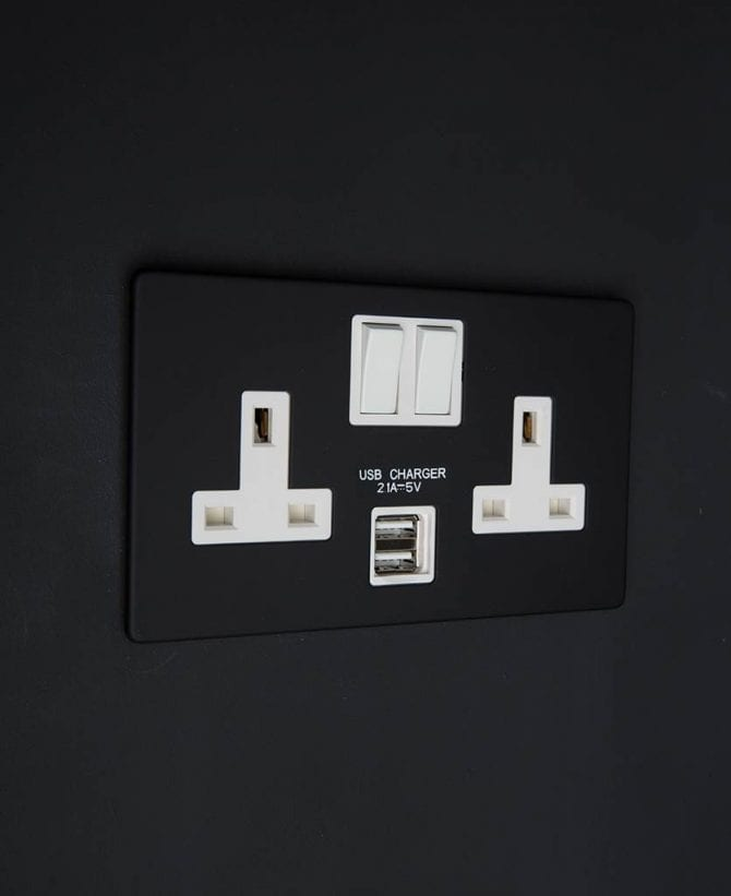 black & white double socket usb