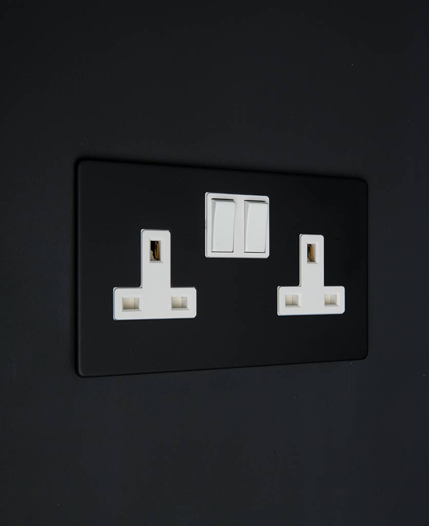black socket double wall socket with white inserts on a black wall