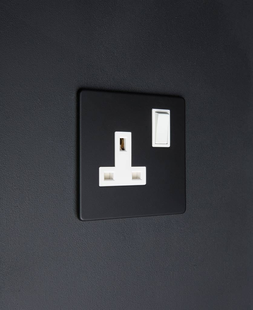 black single plug socket with white inserts on a black wall