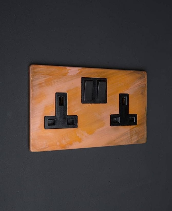 copper & black double plug socket