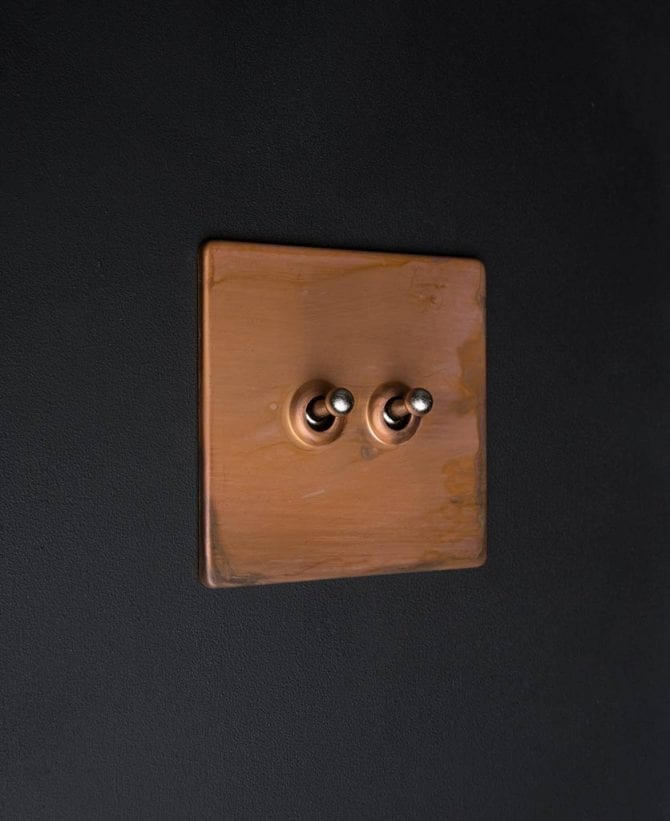 copper & silver double toggle switch