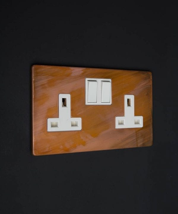 copper & white double plug socket