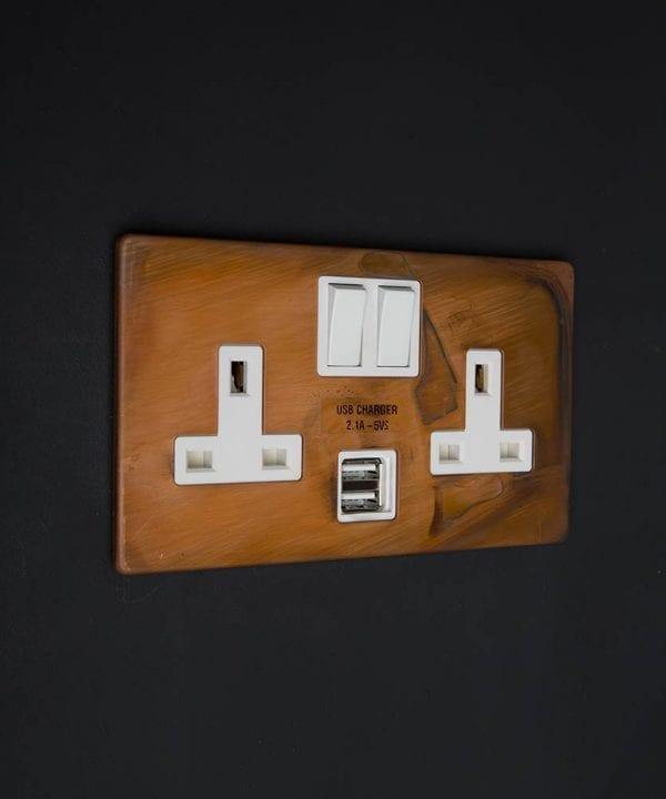 copper & white double plug socket usb