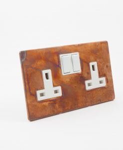 COPPER DOUBLE PLUG SOCKET | 2 Gang Copper & White