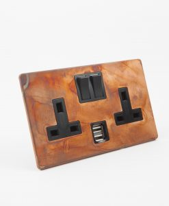 DOUBLE PLUG SOCKET USB | 2 Gang Copper & Black