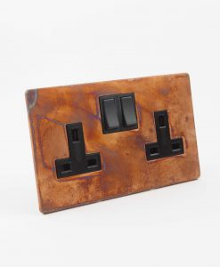 DOUBLE PLUG SOCKET | 2 Gang Copper & Black