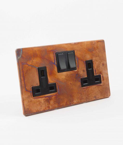 DOUBLE PLUG SOCKET | 2 Gang Copper & Black