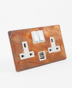 DOUBLE PLUG SOCKET USB | 2 Gang Socket Copper & White