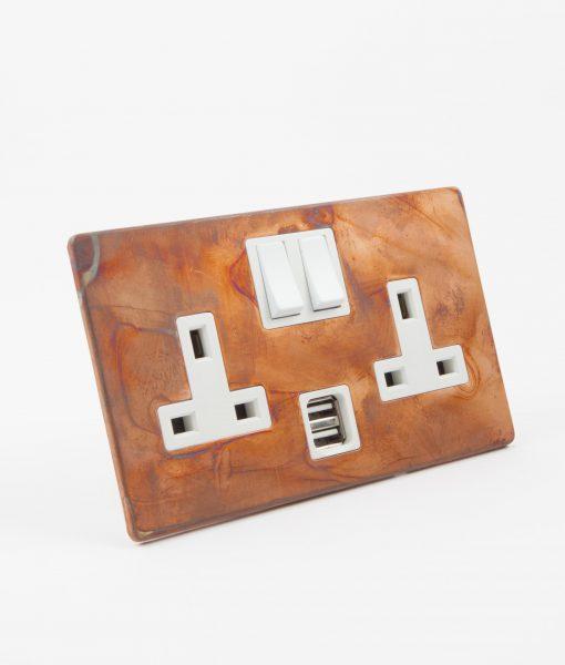 DOUBLE PLUG SOCKET USB | 2 Gang Socket Copper & White