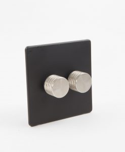 Designer Dimmer Switch Double Black & Silver Light Switch