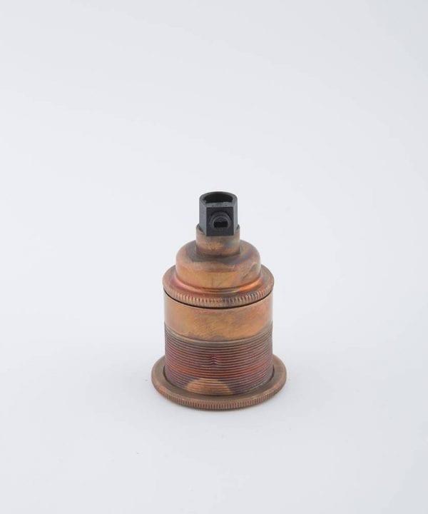 tarnished copper e27 threaded light bulb holder