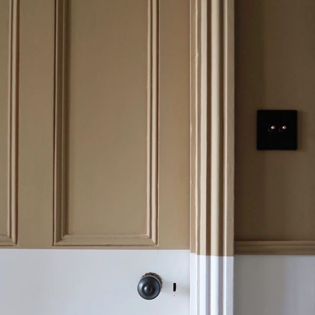 black and silver double dimmer on soft brown wall
