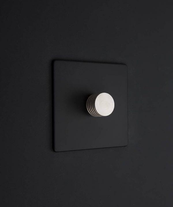 black & silver single dimmer