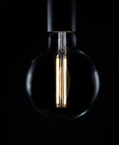 LED filament bulb large globe long warm glow
