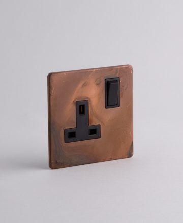 single plug socket 1 gang copper & black