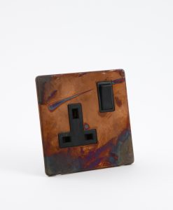 Single Plug Socket 1 Gang Copper & Black Industrial Style