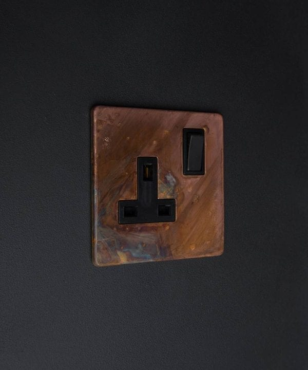 copper & black single plug socket